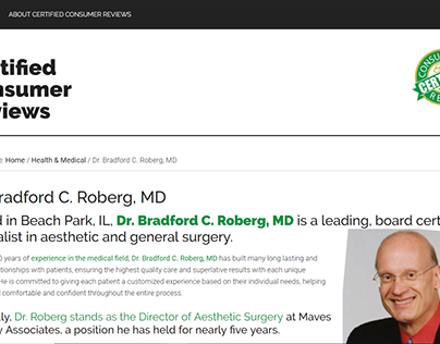 Certified Consumer Reviews - Dr. Bradford C. Roberg, MD