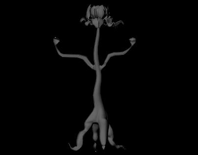 Flower 3D Character Model WIP
