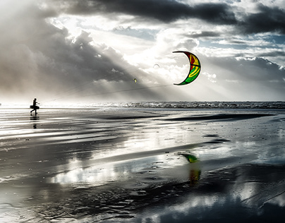 Kites and surfers