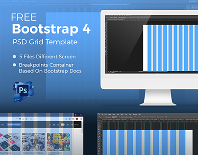 Bootstrap 4 Grid Photoshop Template
