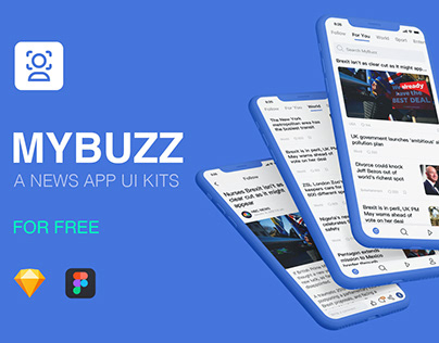 MyBuzz – A NEWS APP UI KITS [Freebie]
