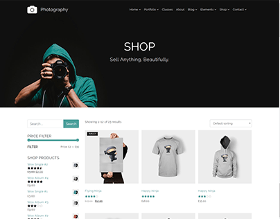Shop - Photography WordPress Theme