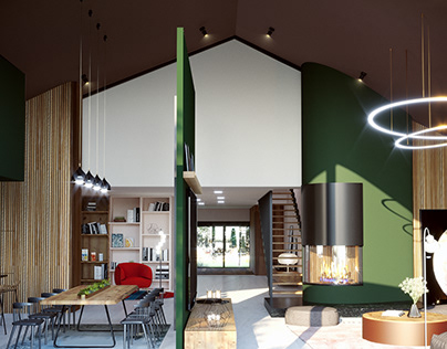 Visualization of an interior with a green fireplace