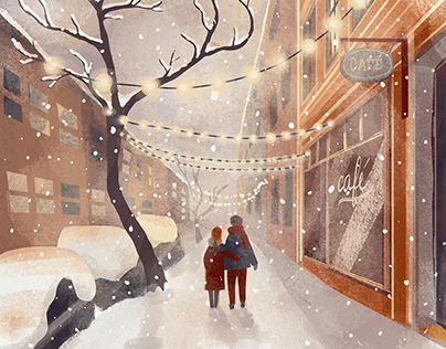Illustration: Snow in town
