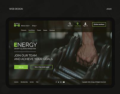 Sport Club Website   First screen