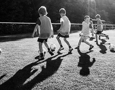 Children training for soccer tournament