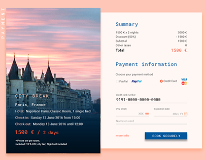 UI - Forms (booking, payments)