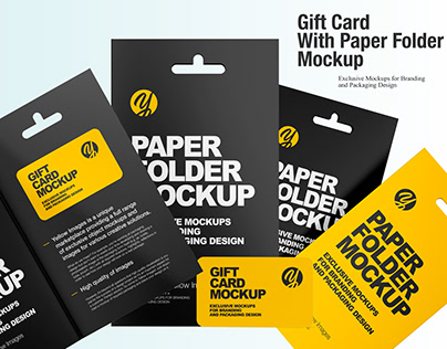Gift Card With Paper Folder Mockup
