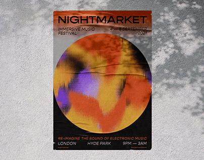 Nightmarket Immersive Music Festival Branding