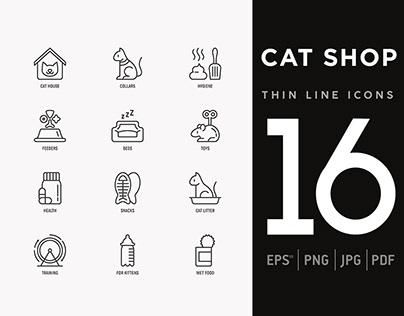 Cat Shop | 16 Thin Line Icons Set