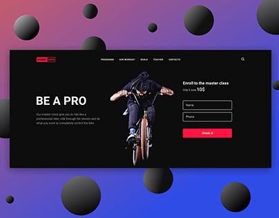 BMX triks master class landing page design concept