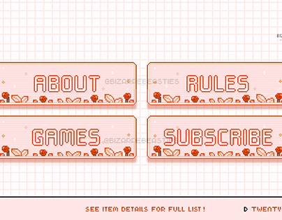 Buy these 20 Pixel Twitch Panels - Garnet Jewels