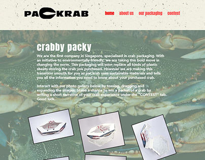 paCkrab - a prototype website using Wix