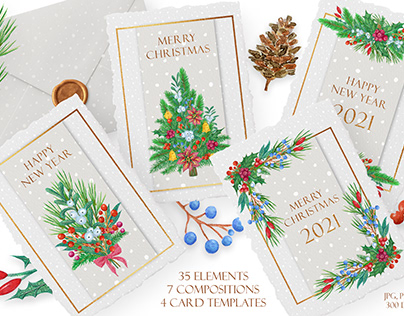 Merry Christmas - postcards, compositions and elements