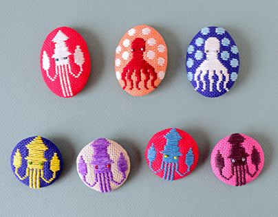 Koginzashi Embroidered Brooches - Part 1