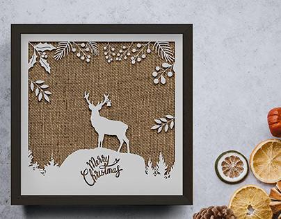 Santa Claus on the Sky/Christmas Deer Silho Silhouette