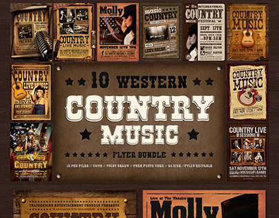 10 Country music Flyer Bundle