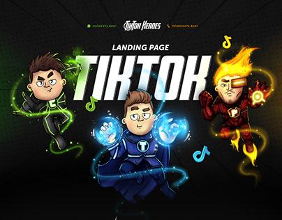 Landing page for marketing superheros TikTok