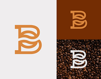 Letter B Logo With Coffee Bean