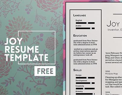 Joy Free Resume Template