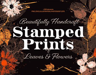 Handcraft Stamped Prints of Leaves & Flowers