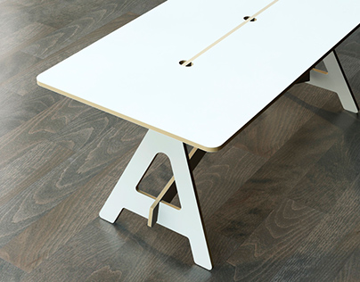 CNC plywood made desk for Proyecto Número
