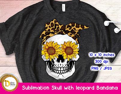 Sublimation Skull with Leopard Bandana