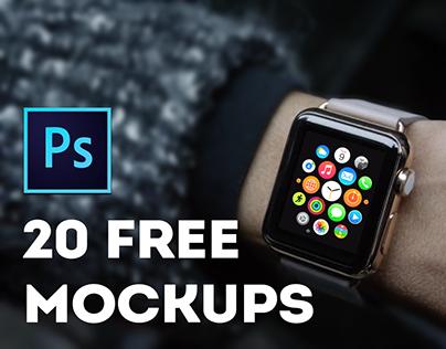 20 free mockups Apple Watch