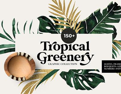 TROPICAL GREENERY green & gold leaf