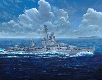 USS Bailey (DD-492) commissioned oil painting