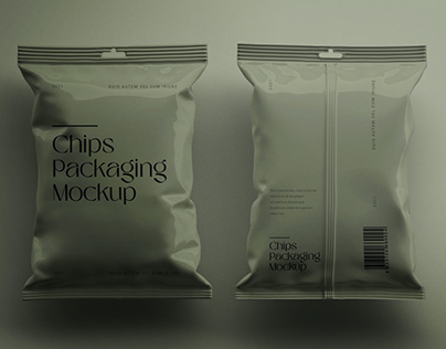 Isometric Chips Packet Packaging Mockup