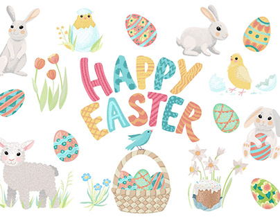 HappyEaster vector design elements and patterns