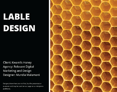 Kwami's Pure Honey Label and poster designs.