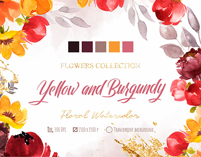 Flowers watercolor Yellow Burgundy