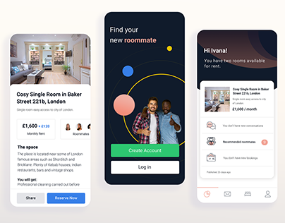Mobile App Concept - Find Roommates & Rent Rooms