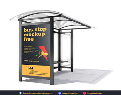 Free PSD - Bus Stop Mockup 2 Download