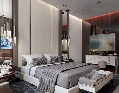 Modern bedroom design.