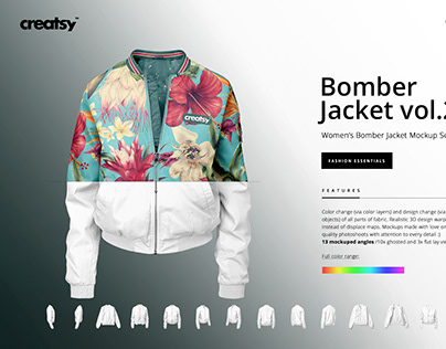 Women's Bomber Jacket Mockup Set v.2