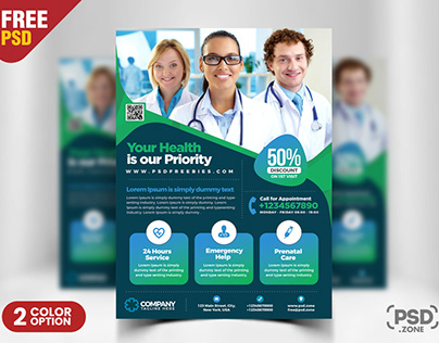 Medical and Health Clinic Flyer PSD