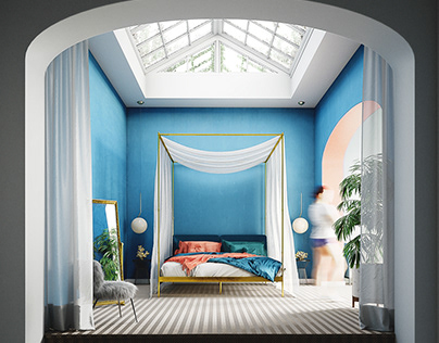 3D Photoreal Interior Rendering - Coral Bedroom