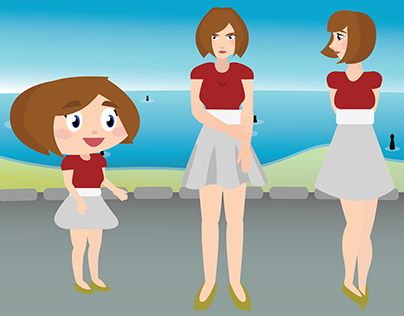 Three Carla at the Beach - Vectorial Illustration