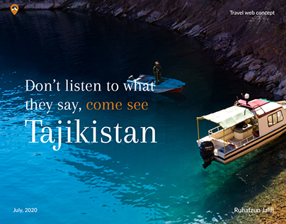 Web design concept about tours and trips to Tajikistan