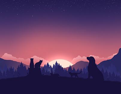 Pets Sunset Vector Illustration