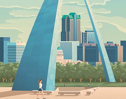 St Louis Missouri Retro Travel Poster City Illustration