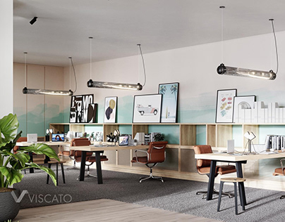 OFFICE INTERIOR WITH BRIGHT ACCENTS