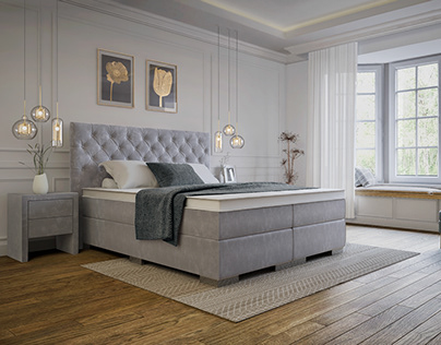 BOXSPRING BEDS in Classic Bedroom | CGI