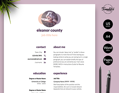 "Resume Template ""Eleanor County"""