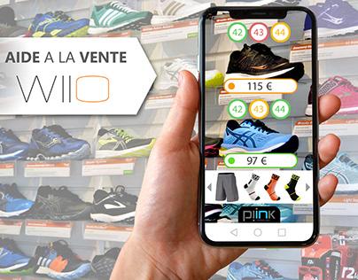 Visuels/interface mobile de solution d'aide à la vente