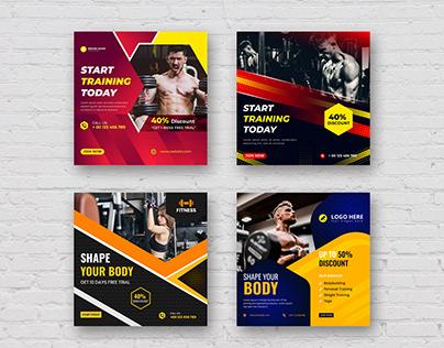 Gym Fitness Social Media Post Banner Design Template
