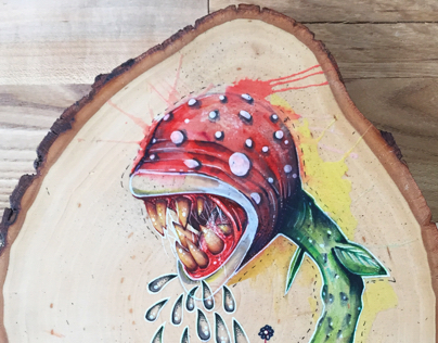 Fan art on wood